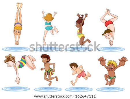 Illustration of the different kids enjoying the water on a white background - stock vector