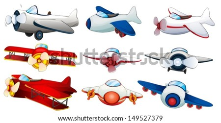 Illustration of the different plane designs on a white background - stock vector