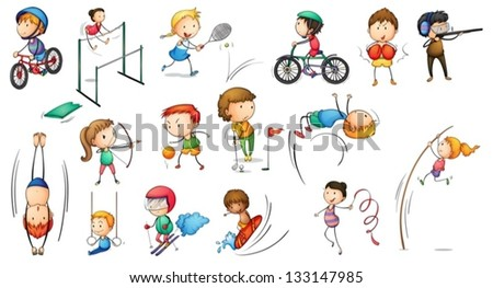 Illustration of the different sports activities on a white background - stock vector