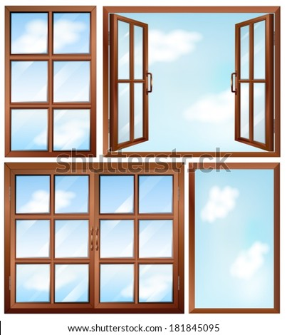 Illustration of the different window designs on a white background - stock vector