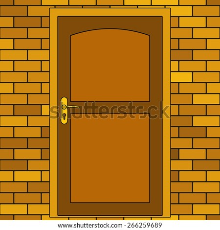 Illustration of the door in brick wall - stock vector