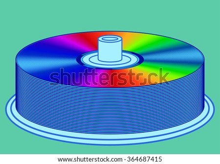 Illustration of the dvd disks stack icon - stock vector