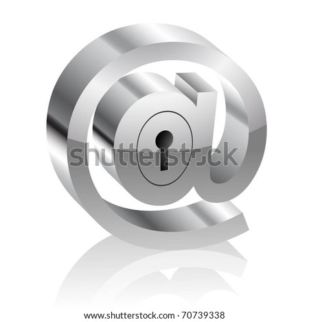 Illustration of the E-mail symbol with lock. Internet security concept. Vector.