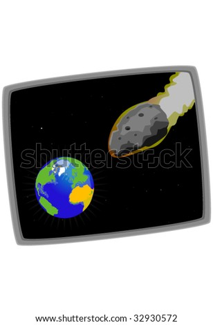Illustration of the earth and a meteorite on a collision course - stock vector