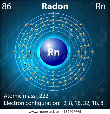 Radon Atom Model Radon - stock vectorRadon Atom Model