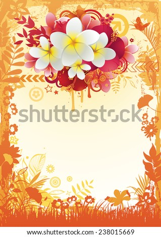 Illustration of the exotic summer composition in a floral frame. - stock vector