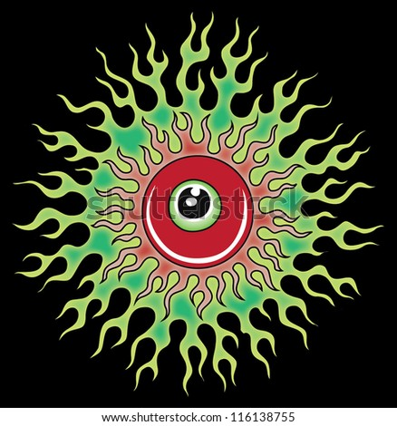 illustration of the eye and fire - stock vector