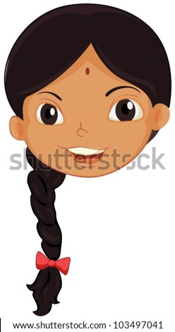 Illustration of the face of an Indian girl - stock vector