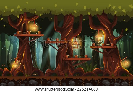 Illustration of the fairy forest at night with flashlights, fireflies and wooden bridges - stock vector