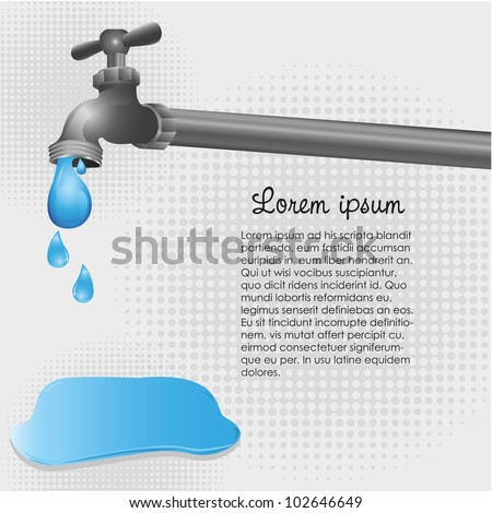 illustration of the faucet dripping into a puddle on the floor - stock vector
