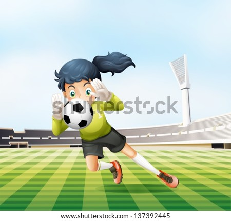 Illustration of the female player catching the soccer ball - stock vector