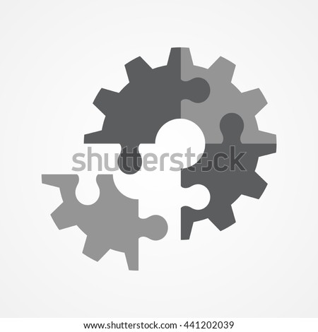 Illustration of the final piece of puzzle which forming a gear, business, complete, completion, solution concept - stock vector
