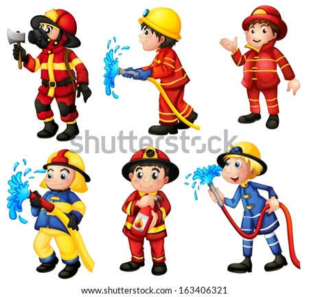 Illustration of the firemen on a white background - stock vector