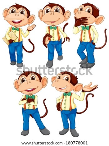 Illustration of the five monkeys wearing blue jeans on a white background
