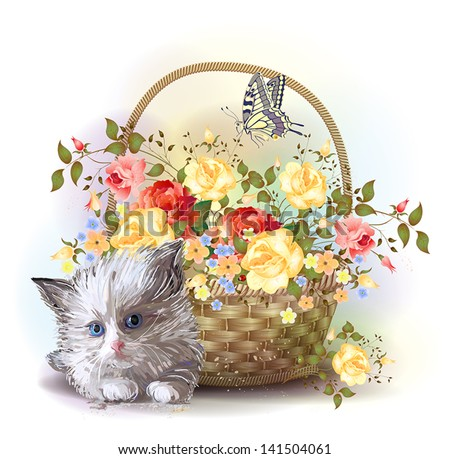 Illustration of  the fluffy kitten and  basket with roses - stock vector