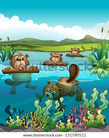 Illustration of the four beavers playing in the river - stock vector
