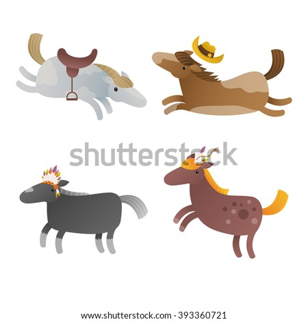 Illustration of the four cartoon horses on a white background. Clip art vector illustration - stock vector