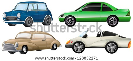 Illustration of the four different types of cars on a white background