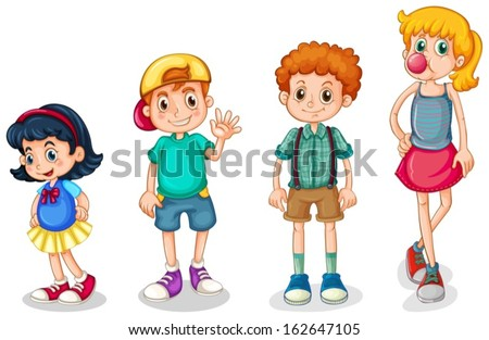 Illustration of the four kids on a white background - stock vector