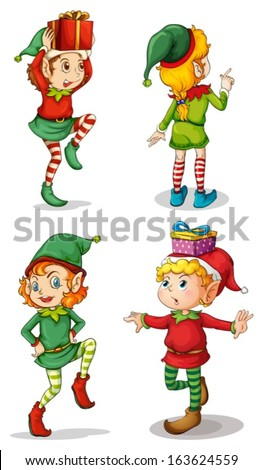 Illustration of the four playful Santa elves on a white background