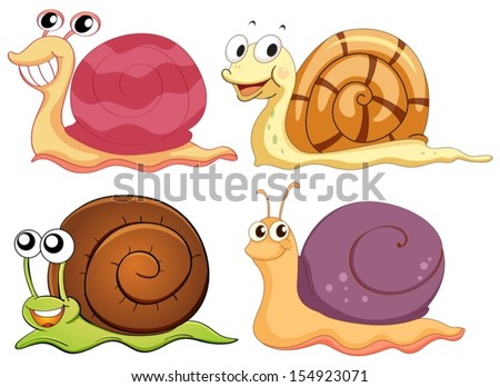 Illustration of the four snails with different shells on a white background - stock vector