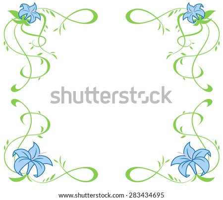 Illustration of the frame with beautiful blue lily flowers on white background - stock vector