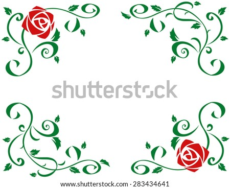 Illustration of the frame with beautiful red rose flowers on white background - stock vector