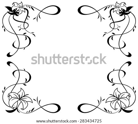 Illustration of the frame with lily flowers black silhouette on white background - stock vector
