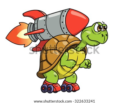 Illustration of the funny turtle on roller skates with rocket on its back - stock vector