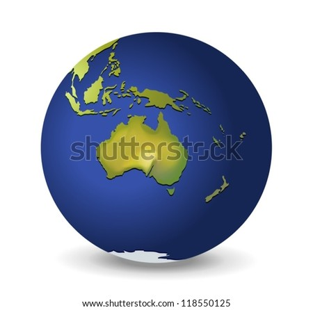 Illustration of the globe, Australia - stock vector
