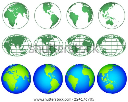 Illustration of the globes hemisphere icon collection. Elements of this image furnished by NASA  - stock vector