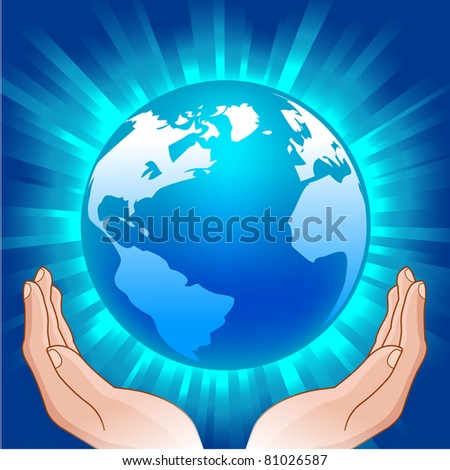 illustration of  the glowing globe in human hands - stock vector