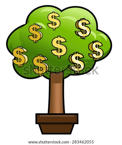 Illustration of the green money tree with golden dollar shining sign on it - stock vector