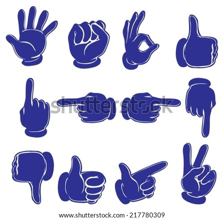 Illustration of the hands in blue colors on a white background
