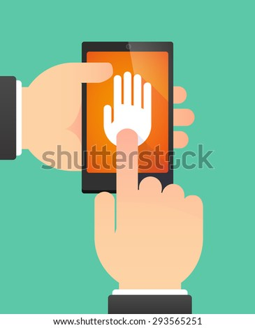 Illustration of the hands of a man using a phone showing a hand - stock vector