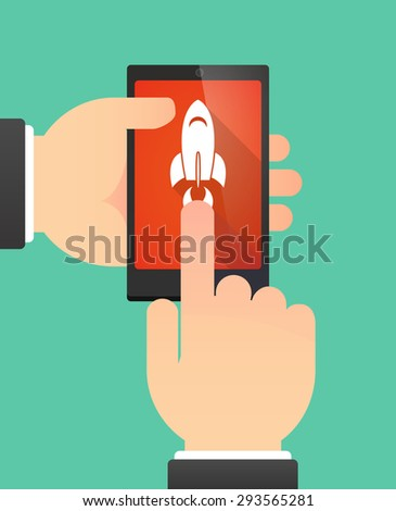 Illustration of the hands of a man using a phone showing a rocket - stock vector