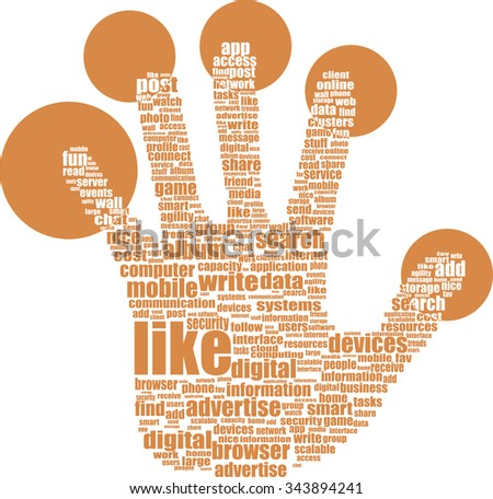 Illustration of the hands symbol, which is composed of text keywords on social media themes. Isolated on white vector illustration - stock vector