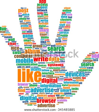 Illustration of the hands symbol, which is composed of text keywords on social media themes. Isolated on white vector illustration