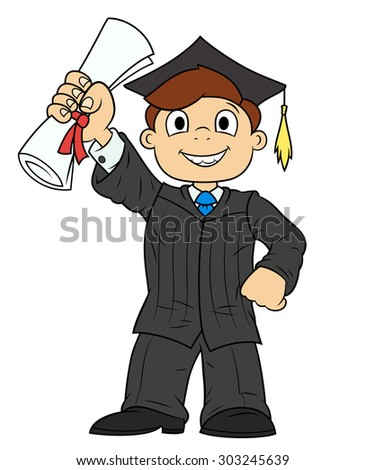 Illustration of the happy graduation student holding his diploma - stock vector
