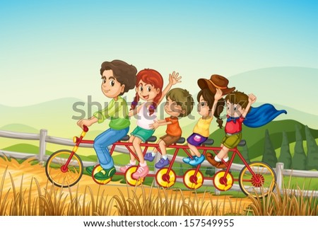 Illustration of the happy kids riding the bicycle at the farm - stock vector