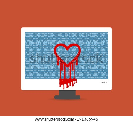 Illustration of the heartbleed bug on the computer screen - stock vector