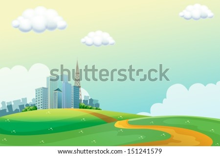 Illustration of the hills across the tall buildings - stock vector