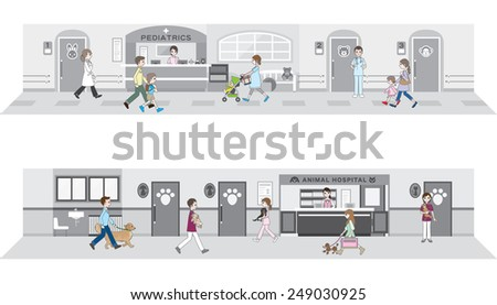 Illustration of the hospital - stock vector