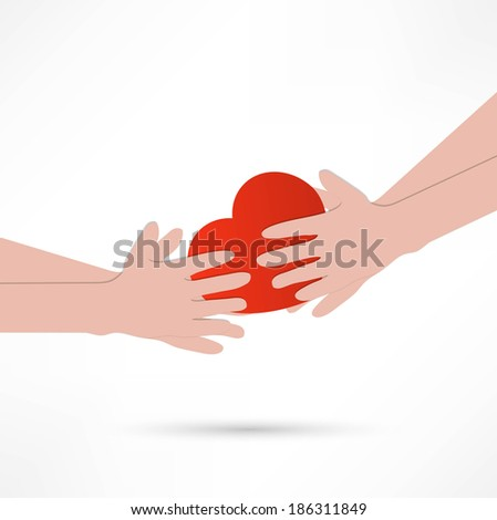 illustration of the human heart rescue people. - stock vector