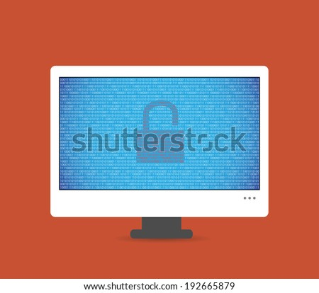 Illustration of the insecure computer - stock vector