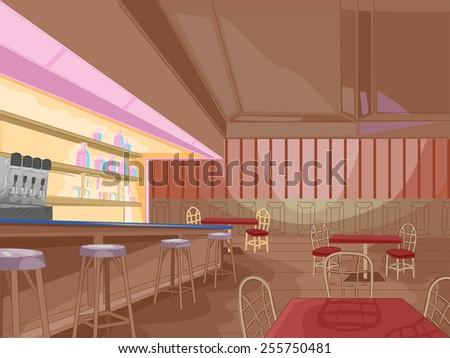 Illustration of the Interior of a Pub Still Waiting for Customers - stock vector