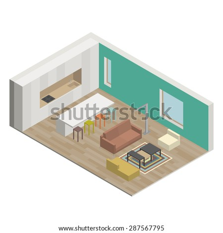 Illustration of the interior of living room. Isometric view - stock vector