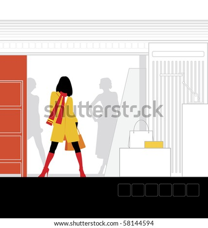 Illustration of the interior of the store. In the foreground is a woman. Beside him is a podium for clothes. - stock vector