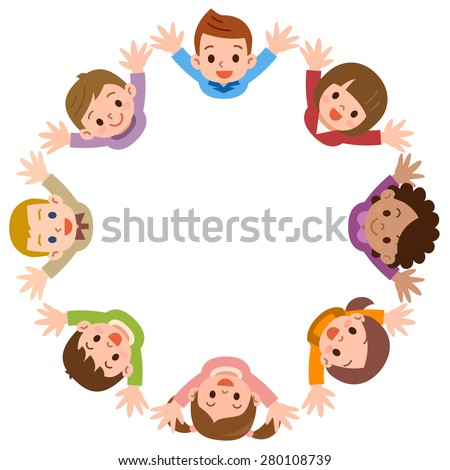 Illustration of the kids forming a circle on a white background - stock vector