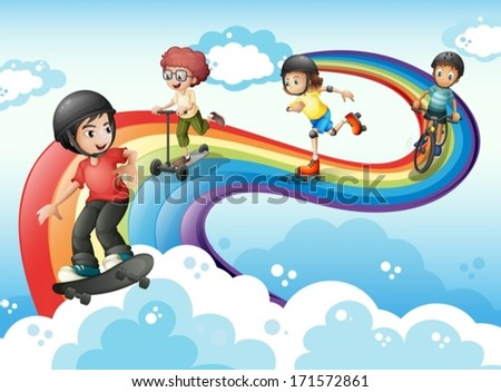 Illustration of the kids in the sky playing with the rainbow - stock vector